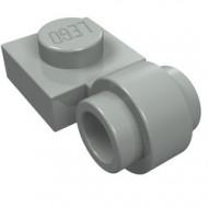 4081b-9 Platte plaat 1x1 met gesloten clip (dikke ring) lichtgrijs (klassiek) NIEUW *1L187/1