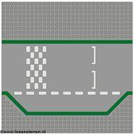 425p01-9G Wegenplaat 32x32 recht met inham start/stop racebaan lichtgrijs (klassiek) gebruikt *3K000