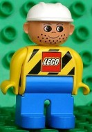 4555pb038 Duplo Figure, Male, Blue Legs, Yellow Top with Black Stripes and Lego Logo, Construction Hat White *
