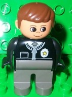 4555pb059 Duplo Figure, Male Police, Dark Gray Legs, Black Top with Zipper, Tie and Badge, Brown Hair loc
