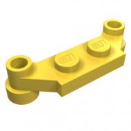 4590-3 Platte plaat 1x4 offset (plaat 2 x1+gaten links en rechts) geel NIEUW *1L240