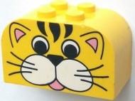 4744px11-3G Steen 2x4x2 met ronde top Gezicht tijger geel gebruikt *0K0000