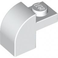 6091-1G Steen 2x1 met afgeronde kop en nop wit gebruikt *1L0000