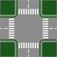 611p01-6G Wegenplaat 32x32 kruispunt GROEN!! 8 noppen zijkant Groen gebruikt loc