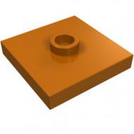 87580-68 Platte plaat 2x2 1 centrale nop oranje, donker NIEUW *1L235