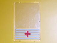 2494pb02-12G Glas for raam 1x4x5 met Rode Kruis motief Transparant gebruikt loc