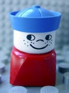 dupfig003 Duplo 2 x 2 x 2 Figure Brick Early, Male on Red Base, Blue Sailor Hat, Freckles loc