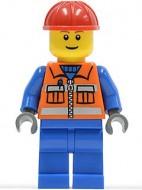 cty0009G Bouwvakker- Rode veiligheidshelm, standaardhoofd met pupillen, oranje vest met blauwe armen,dokerblauwgrijze handen, blauwe benen gebruikt loc