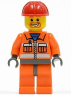 cty0041G Bouwvakker, Rode veiligheidshelm, gezicht met ringbaard, oranje pak met ritssluiting, oranje broek, donkerblauwgrijze handen gebruikt loc