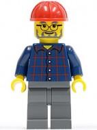 cty0126 Bouwvakker, bril en baard, geruit shirt, rode constructiehelm, donkerblauwgrijze broek NIEUW loc