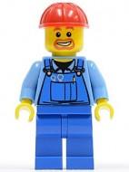 cty0159G Bouwvakker, rode veiligheidshelm, ringbaard, blauwe overall met gereedschap gebruikt loc