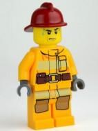 cty0279G Brandweer, donkerrode brandweerhelm, licht oranje pak gebruikt loc