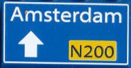 CUS1095 Routebord Amsterdam N200 (2x4) blauw NIEUW *0A000