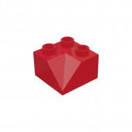 HU009 DAKPAN 2x2 45 graden binnen DUPLO compatible rood NIEUW loc