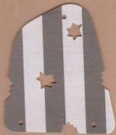 sailbb13-1G Zeil donkergrijze strepen met (bewust gemaakte) beschadigingen wit gebruikt *5D000
