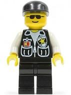 soc045G Police - Sheriff, Black benen, witte armen, Black Hat, Black SunGlases gebruikt *0M0000