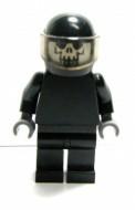 sp085G MINIPROMO Space Skull zwart lijf donkerblauwgrijze handen doodshoofd kwaad zwarte integraalhelm gebruikt *0M0000