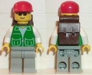 trn029G Groen jas met twee grote zakken - Gray benen, rode Cap gebruikt loc