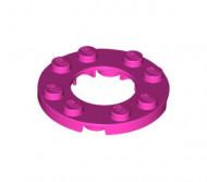 11833-47 Platte plaat 4x4 rond met 2X2 gat in midden roze, donker NIEUW loc