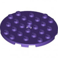 11213-89 Platte plaat 6x6 rond paars, donker NIEUW *5K0000