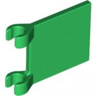 2335-6G Vlag 2x2 vierkant met twee clips groen gebruikt *3D000