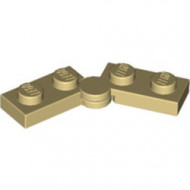 2429c01-2 Scharnierplaat 1x4 compleet (horizontaal 2 x 1x2) (loc 01-09) crème NIEUW *1L300