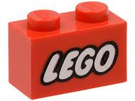 3004pb007-5G Steen 1x2 opdruk LEGO GESLOTEN O rood gebruikt *0K000