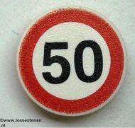 30261pb02-1 Verkeersbord- Max.snelheid 50 km CLIP ON (zie paal 30256) wit NIEUW *