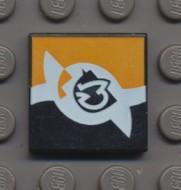 3068bpx8-11 Tegel 2x2 Star wars logo (oranje/zwart) Zwart NIEUW loc