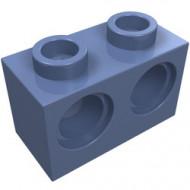 32000-55G Technic, steen 1x2 met 2 gaten blauw, zandkleurig gebruikt *