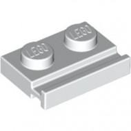 32028-1G Platte plaat 1x2 met deurrail wit gebruikt *1D011