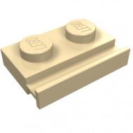 32028-2 Platte plaat 1x2 met deurrail crème NIEUW *1L290/5