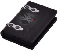 33009px3-11G Boek met hengsels en geestgezichjt zwart gebruikt *0D0000