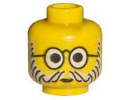 3626bpa1-3 Hoofd- Ronde bril, baard en snor geel NIEUW *0B0000