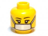 3626bpb0657-3 H3-13 hoofd vrouw met mondkapje geel NIEUW loc