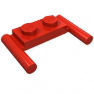 3839b-5 Platte plaat 1x2- 2 hendels lagere setting rood NIEUW *1L319/11