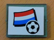 3855pb027-15G Glas voor raam 1x4x3 Nederlandse vlag en voetbal transparant lichtblauw gebruikt *0L0000