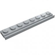 4510-86 Platte plaat 1x8 met deurrail/dakgoot grijs, licht (blauwachtig) NIEUW *1L317/6