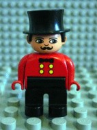 4555pb036 Duplo Figure, Male, Black Legs, Red Top, Top Hat (Circus Ringmaster) loc