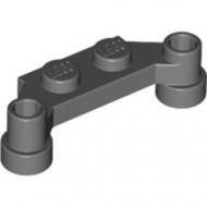 4590-85 Platte plaat 1x4 offset (plaat 2 x1+gaten links en rechts) grijs, donker (blauwachtig) NIEUW *1L319