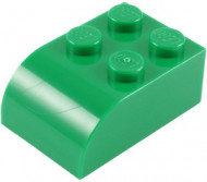 6215-6E EUROVOORDEEL: 15x Steen 2x3 afgeronde top 4 noppen groen NIEUW loc