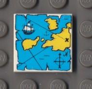 3068px9-1G Tegel 2x2 Landkaart blauw met geel land Wit gebruikt loc