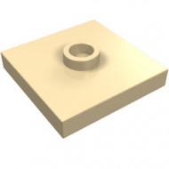 87580-2 Platte plaat 2x2 1 centrale nop crème NIEUW *1L0000