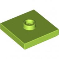 87580-34 Platte plaat 2x2 1 centrale nop lime NIEUW *1L0000