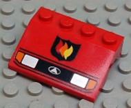 2513pb03-5G Spatbord (schuin front) metkoplampen en brandweer logo Rood gebruikt loc