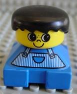 2327pb01 Duplo 2 x 2 x 2 Figure Brick, Blue Base, Striped Overalls, Black Hair, Large Eyes, Freckles on Nose loc
