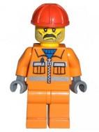 cty0010G Bouwvakker- Rode veiligheidshelm, baardstoppels en snor, oranje pak en broek, donkerblauwgrijze armen gebruikt loc