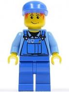 cty0050G Blauwe cap, rood piekhaar, blauwe overall gebruikt loc