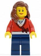 cty0143G Vrouw, lang bruin haar, rode sweather met ketting, zwarte broek gebruikt loc