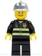 cty0173G Brandweerman. Refelectiestrepe, bruine wenkbrauwen/lach, zilveren helm NIEUW loc